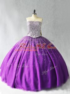 Shining Sleeveless Beading Lace Up Quinceanera Gown