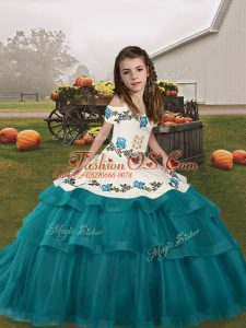 Affordable Teal Sleeveless Floor Length Embroidery and Ruffled Layers Lace Up Pageant Gowns