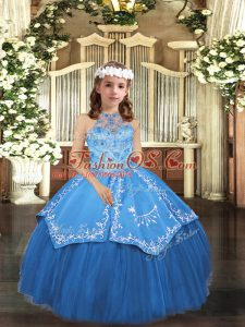 Simple Sleeveless Lace Up Floor Length Embroidery Glitz Pageant Dress