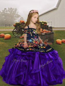 New Style Floor Length Purple Kids Formal Wear Organza Sleeveless Embroidery and Ruffles