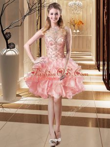 Sleeveless Organza Mini Length Lace Up Evening Dress in Pink with Beading and Ruffles
