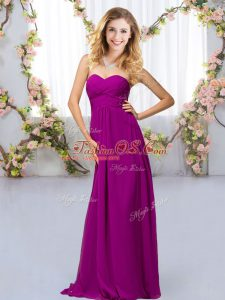 Purple Chiffon Criss Cross Sweetheart Sleeveless Floor Length Bridesmaids Dress Beading