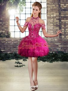 Lovely Fuchsia A-line Beading and Ruffles Evening Dress Lace Up Tulle Sleeveless Mini Length