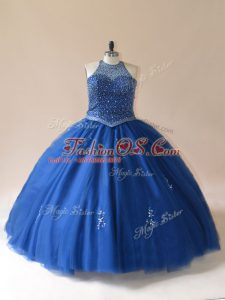 Elegant Ball Gowns Sweet 16 Quinceanera Dress Blue Scoop Tulle Sleeveless Floor Length Lace Up