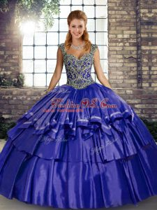 Wonderful Purple Straps Neckline Beading and Ruffled Layers Quinceanera Dresses Sleeveless Lace Up