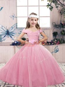 Pink Sleeveless Tulle Lace Up Little Girls Pageant Dress Wholesale for Party and Wedding Party