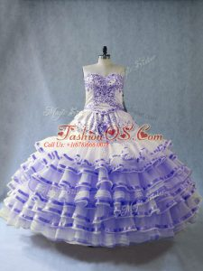 Lavender Organza Lace Up Quinceanera Gown Sleeveless Floor Length Embroidery and Ruffled Layers