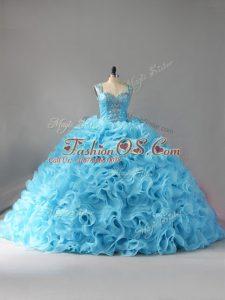 Baby Blue Zipper Quinceanera Dress Beading and Ruffles Sleeveless Court Train