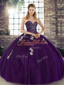 Beauteous Purple Tulle Lace Up Sweetheart Sleeveless Floor Length Sweet 16 Quinceanera Dress Beading and Appliques