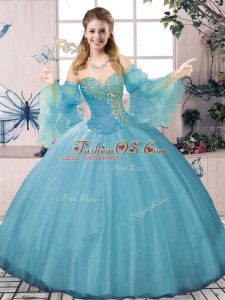 Sweetheart Long Sleeves Tulle 15 Quinceanera Dress Beading and Ruching Lace Up