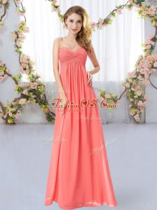 Watermelon Red Sleeveless Chiffon Zipper Wedding Guest Dresses for Wedding Party