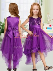 Fashionable Scoop Sleeveless Toddler Flower Girl Dress High Low Sequins and Bowknot Purple Organza