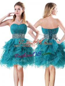 Mini Length Teal Dress for Prom Sweetheart Sleeveless Lace Up