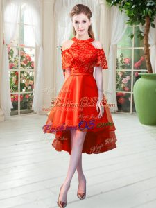 A-line Rust Red High-neck Tulle Short Sleeves High Low Zipper