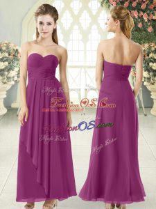Sophisticated Ankle Length Purple Prom Dress Sweetheart Sleeveless Zipper
