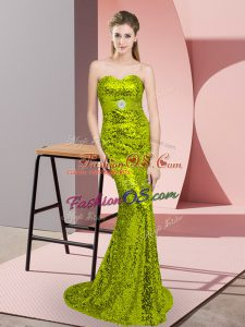 Apple Green Sleeveless Sequined Sweep Train Lace Up Prom Dresses for Prom and Party and Military Ball