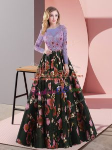 Long Sleeves Sweep Train Lace Up Appliques Evening Dress