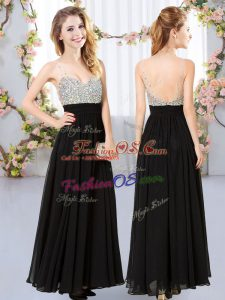 Fashionable Black Empire Chiffon V-neck Sleeveless Beading Floor Length Backless Wedding Party Dress