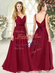 Wine Red Empire Chiffon V-neck Sleeveless Ruching Floor Length Backless Homecoming Dress