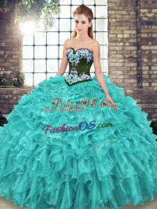 Inexpensive Turquoise 15th Birthday Dress Sweetheart Sleeveless Sweep Train Lace Up