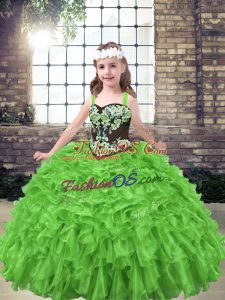 Fashionable Ball Gowns Embroidery and Ruffles Little Girls Pageant Gowns Lace Up Organza Sleeveless Floor Length