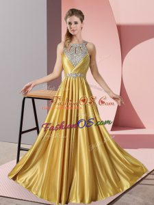 Extravagant Halter Top Sleeveless Satin Evening Dress Beading Lace Up