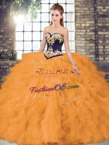 Exceptional Orange Sweetheart Lace Up Beading and Embroidery Sweet 16 Dresses Sleeveless