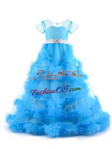 High Quality Beading and Ruffles Child Pageant Dress Baby Blue Backless Short Sleeves Floor Length