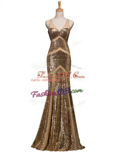 V-neck Sleeveless Sweep Train Backless Prom Gown Brown Sequined