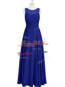 Royal Blue Empire Lace and Pleated Dress for Prom Zipper Chiffon Sleeveless Floor Length