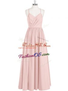 Empire Evening Dress Pink Spaghetti Straps Chiffon Sleeveless Floor Length Criss Cross