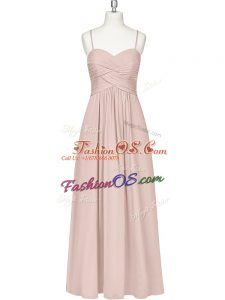 Charming Floor Length Zipper Homecoming Dress Baby Pink for Prom and Party with Ruching