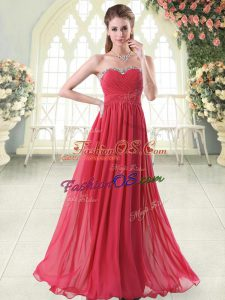 Smart Red Chiffon Zipper Prom Evening Gown Sleeveless Floor Length Beading