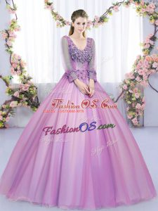 Best V-neck Long Sleeves Sweet 16 Quinceanera Dress Floor Length Lace and Appliques Lilac Tulle