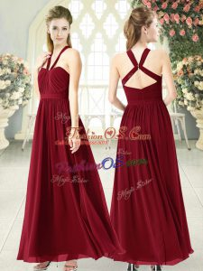Super Chiffon Halter Top Sleeveless Backless Ruching Prom Dresses in Burgundy