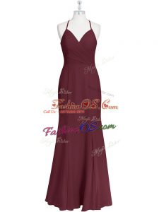 Burgundy Spaghetti Straps Criss Cross Ruching Prom Party Dress Sleeveless