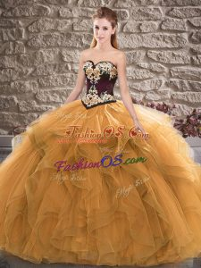 Shining Orange Lace Up 15 Quinceanera Dress Beading and Embroidery Sleeveless Floor Length