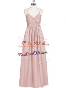 Hot Sale Baby Pink Zipper Spaghetti Straps Ruching Homecoming Dress Chiffon Sleeveless