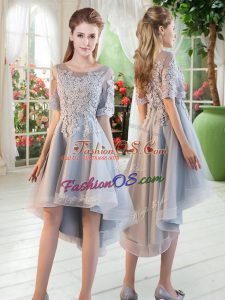 Beauteous Scoop Half Sleeves Lace Up Grey Tulle