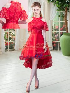 Latest Red High-neck Zipper Lace Prom Dress Short Sleeves