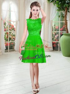 Green Empire Lace Prom Gown Zipper Satin Sleeveless Knee Length