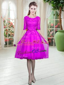 Low Price Lace Prom Party Dress Fuchsia Lace Up Half Sleeves Knee Length