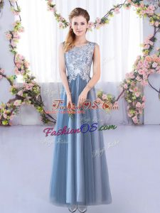 Customized A-line Wedding Guest Dresses Blue Scoop Tulle Sleeveless Floor Length Lace Up