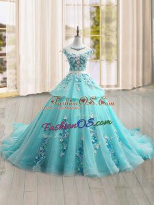 Eye-catching Scoop Cap Sleeves Tulle Quinceanera Dress Appliques Brush Train Lace Up