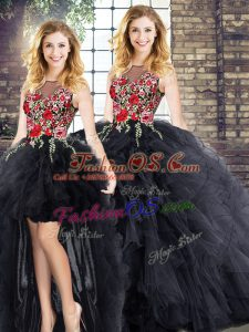 Decent Scoop Sleeveless Quinceanera Gowns Embroidery and Ruffles Zipper