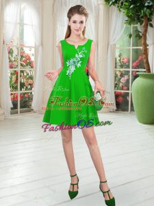 Hot Selling Sleeveless Satin Mini Length Zipper Prom Dresses in Green with Appliques
