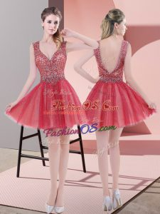 Watermelon Red A-line V-neck Sleeveless Tulle Mini Length Backless Beading Prom Dress