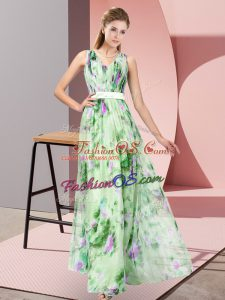 Sleeveless Printed Floor Length Zipper Prom Dresses in Multi-color with Pattern