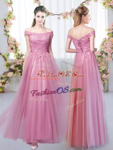 Designer Pink Sleeveless Floor Length Lace Lace Up Dama Dress for Quinceanera