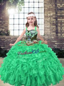 Sleeveless Floor Length Embroidery and Ruffles Lace Up Little Girls Pageant Gowns with Green